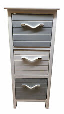 Slim 3 Drawer Wooden Storage Unit Bedside Cabinet Bathroom Furniture