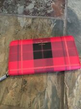 "Rare! Kate Spade New York ""Fairmount Square"" Cherry Red Plaid Lacey Wallet, NWT"