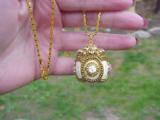 REAL Quail Egg Locket Necklace White Enamel Hand Made Decorated Trinket Gift