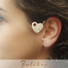 JoliKo Ohrklemme Ohrschmuck Ear Cuff Rubin Kristall Herz Love Ruby Drop LINKS