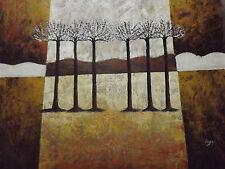 abstract alberi enorme pittura a olio tela marrone bianco crema