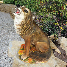 Howling at the Moon Coyote Statue Prairie Wolf Garden Sculpture
