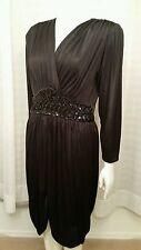 Vintage 80's Black Draped Sequin Cocktail Party Prom Dress Size M/L Glamorous