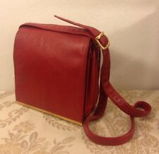 Carla Mancini Flap Over Red Leather Cross Body Purse Bag Gold Trim (Vintage)