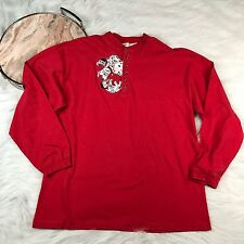 Vtg 90s Disney Store XL 101 Dalmatians Long Sleeve Embroidered Top