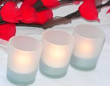 LED battery wind proof Tealight Candle + Frosted Glass 6cm holder MANY InStock