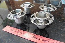4 fancy toppers vintage candle stick church candelabra holder ornament pewter ??