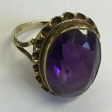 Vintage Solid 9ct Gold Amethyst Large Single Stone Cocktail Dress Ring Size K