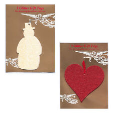 30 Snowman & Heart Glittered Christmas Gift Tags in Cello Packs of 3