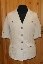 PER UNA M&S beige LINEN short sleeve safari holiday suit jacket top BNWT 16 44