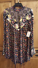 FREE PEOPLE WILDFLOWER FIELDS TUNIC IN THE COLOR BLACK SIZE S NWT