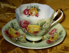 QUEEN ANNE PALE GREEN FLORAL TEA CUP & SAUCER CABBAGE ROSES GOLD TRIM