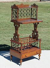 Victorian Stick & Ball Burl Walnut Canterbury Magazine Rack Music Stand c1870