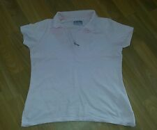 Pale Pink Polo/Sports Tshirt TOP size 14 Short Sleeves Zip Collar 100% Cotton