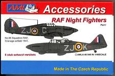 AML Models 1/48 RAF NIGHT FIGHTERS STUB EXHAUST VERSIONS Resin & Decal Set Pt 1