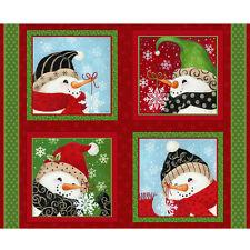 """34"""" Fabric Panel - Fabri-Quilt Imagine Snowmen Pillowcase Scenes Red"""