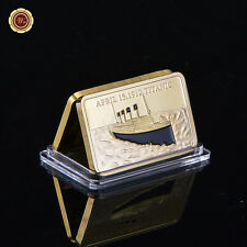 In Memory Of Titanic Victims 1 OZ 999 24k Gold Plated Bar Commemorative Coin Bar