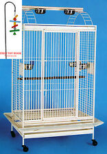 Large Open PlayTop Double Ladder Parrot Cockatiel Macaw Conure Aviary W/Toy Hood