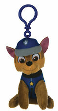 """NEW OFFICIAL 4"""" PAW PATROL CHASE PUP PLUSH SOFT TOY BAG CLIP NICKELODEON DOGS"""