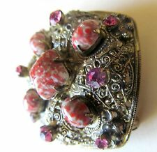 Vintage Filigree Brooch Decorated With Art  Coral Glass Stones and Pink Rhinesto