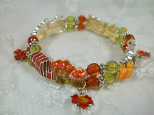 Fall Scene Beads And Leaf Charms Stretch Bracelet Fashion Jewelry New