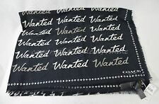 NWT! RARE Coach F77784 'Wanted' Script Woven Shawl/Scarf Black & White