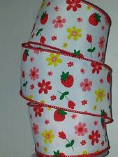 "SPRING RIBBON-WHITE W/FLOWERS & STRAWBERRY PATTERN WIRED EDGE - 2.5"" X 25' - #8"