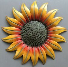 "Sunflower Country Home Hanging Wall Art Decoration Metal Hand-Painted 14""x14"""