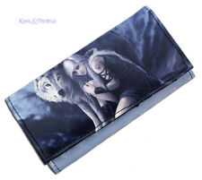 "Anne Stokes Vinyl Wallet Purse: ""The Protector"" Girl with Wolf"