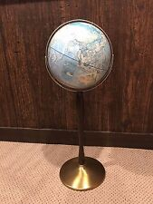 Vintage World Portrait Globe on Stand-3-D Relief Rand McNally MCM-Excellent!