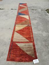 3x17ft. Rare Geometric Afghan Chobi Multi-Colored Wool Runner