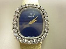 LADIES CORUM 18K YELLOW GOLD  LAPIS DIAL DIAMOND  BEZEL  WATCH