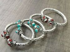 WHOLESALE LOT 4 pcs TURQUOISE & GARNET STONE.925 STERLING SILVER PLATED BANGLE