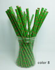 25 Paper Straws Festival Pattern Drinking Straw For Halloween Christmas Color 8