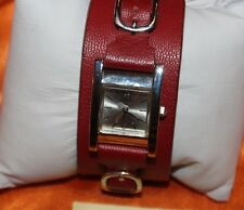 BEAUTIFUL Guess Watch Ladies RED Leather Cuff Strap F90