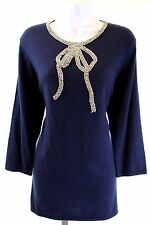Naeem Khan - Navy Blue Rhinestone Bow Detail Tunic Sweater- Size XL