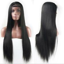 "24"" Silky straight Jet Black Heat resistant Lace Front Wig"
