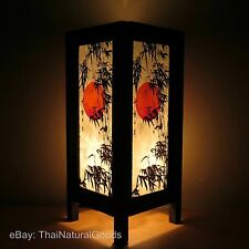 Asian Oriental Asian Sunset Bedside Table Lamp Wood Shades Desk Night Lights