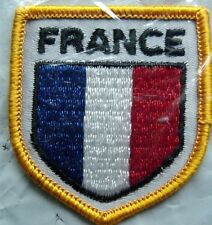 """France Flag Shield Crest Cloth Sew On PATCH 2"""" by 2"""""""
