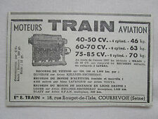 12/1938 PUB MOTEURS TRAIN COURBEVOIE RECORD SFAN KELLNER BECHEREAU TOUYA AD