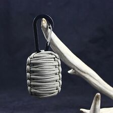 Paracord Survival Grenade Carabiner with 15 + TOOLS (COVERT GREEN) FLINT + KNIFE