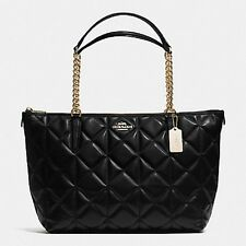 NWT COACH F36661 Ava Chain Lux Quilted Calf Leather Shoulder Bag, Tote Black