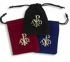 Rosary Velvet Drawstring Bags 3 Assorted Colors (TC436) NEW with Chi Rho symbol