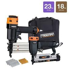 18 Gauge Brad Nailer Gun & 23 Ga Micro Pin Pinner Air Compressor Tools Combo Kit