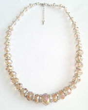 Stunning Handmade Light Brown Crystals Clear Rondelle Spacer Necklace Mother's D