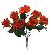 42 OPEN ROSES ~ DARK ORANGE CORAL ~ Silk Wedding Flowers Bouquets Centerpieces