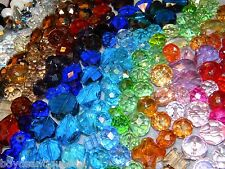 New (100) Assorted Pick Glass faceted Jesse James beads 6-20mm mixture