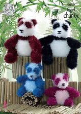 KINGCOLE 9059 -TINSEL PANDA KNITTING PATTERN- 2 SIZES -Not the finished toys