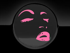 Pink Sexy Face Makeup Fuel Cap Cover Car Sticker, 75mm, Decal, Graphic, Adhesive
