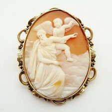 ANTIQUE EARLY LARGE VICTORIAN SHELL CAMEO 9CT GOLD FRAME C.1860 MOSES TO HEAVEN